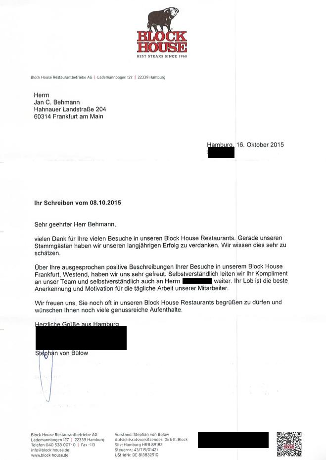 Brief von Stephan von Bülow Blockhouse